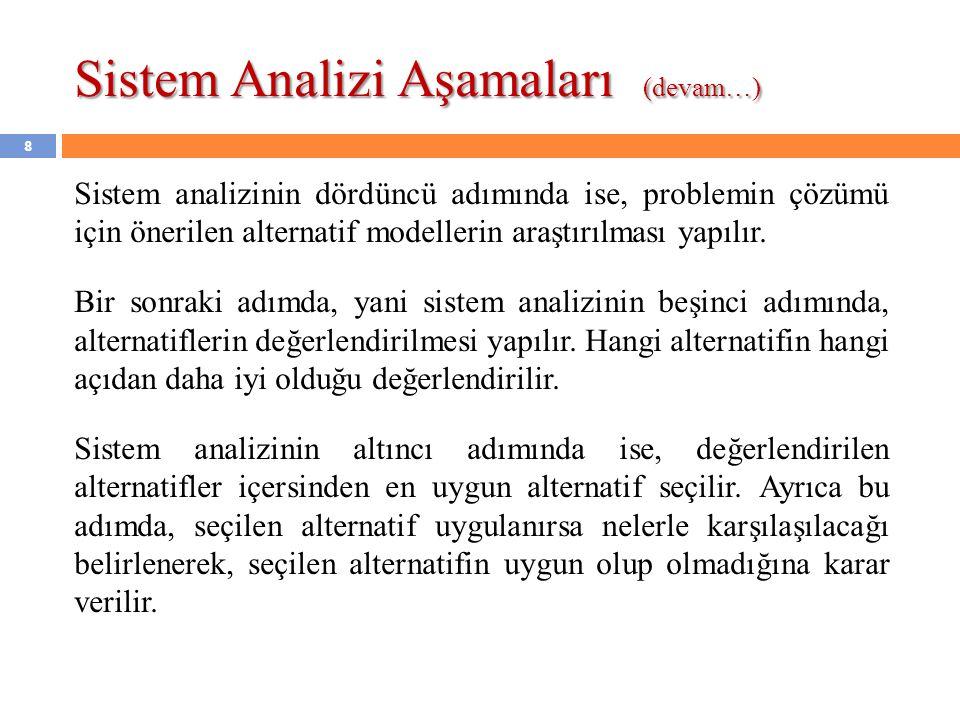 8 Sistem analizinin dördüncü adımında ise, problemin çözümü için önerilen alternatif modellerin araştırılması yapılır. Bir sonraki adımda, yani sistem