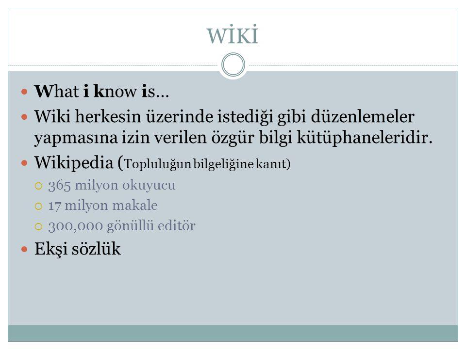 WİKİ  What i know is…  Wiki herkesin üzerinde istediği gibi düzenlemeler yapmasına izin verilen özgür bilgi kütüphaneleridir.