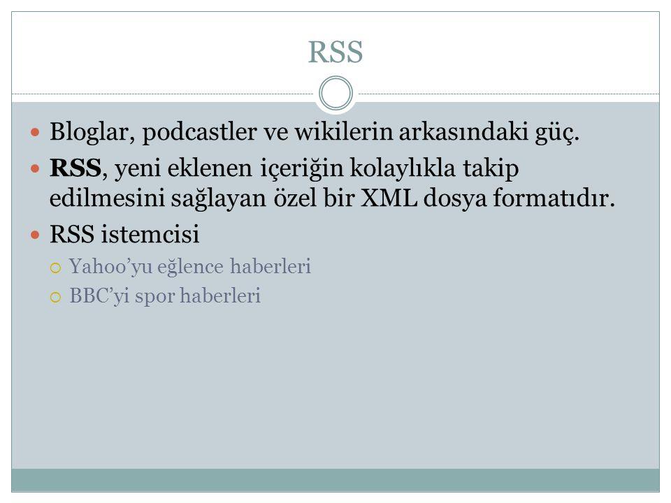 RSS  Bloglar, podcastler ve wikilerin arkasındaki güç.