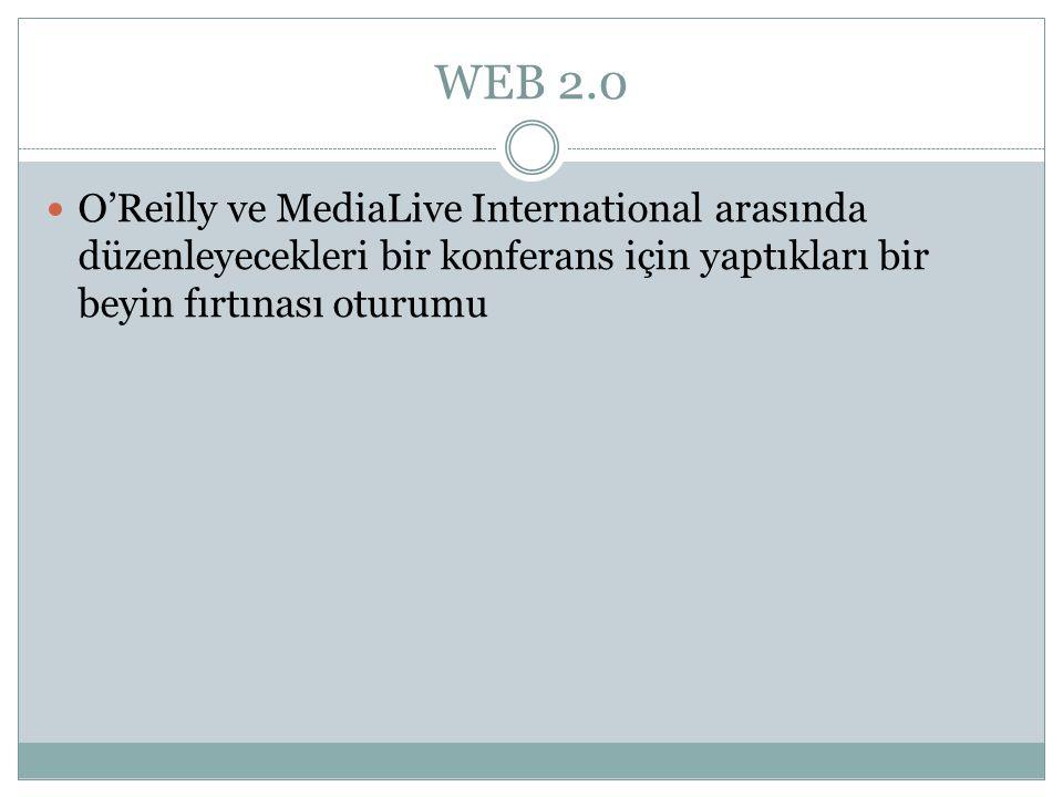 WEB 2.0  O'Reilly ve MediaLive International arasında düzenleyecekleri bir konferans için yaptıkları bir beyin fırtınası oturumu