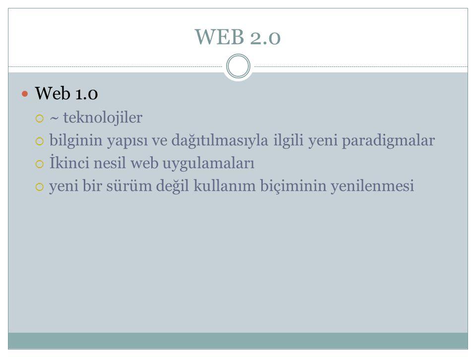 WEB 2.0  Web 1.0  ~ teknolojiler  bilginin yapısı ve dağıtılmasıyla ilgili yeni paradigmalar  İkinci nesil web uygulamaları  yeni bir sürüm değil kullanım biçiminin yenilenmesi