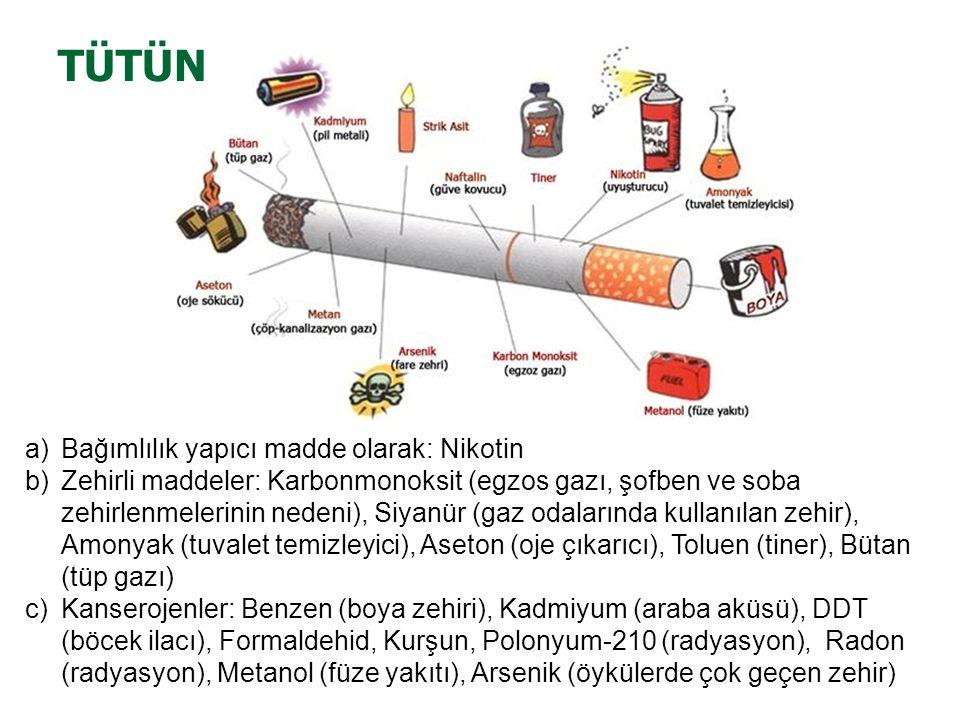 a)Bağımlılık yapıcı madde olarak: Nikotin b)Zehirli maddeler: Karbonmonoksit (egzos gazı, şofben ve soba zehirlenmelerinin nedeni), Siyanür (gaz odalarında kullanılan zehir), Amonyak (tuvalet temizleyici), Aseton (oje çıkarıcı), Toluen (tiner), Bütan (tüp gazı) c)Kanserojenler: Benzen (boya zehiri), Kadmiyum (araba aküsü), DDT (böcek ilacı), Formaldehid, Kurşun, Polonyum-210 (radyasyon), Radon (radyasyon), Metanol (füze yakıtı), Arsenik (öykülerde çok geçen zehir) TÜTÜN