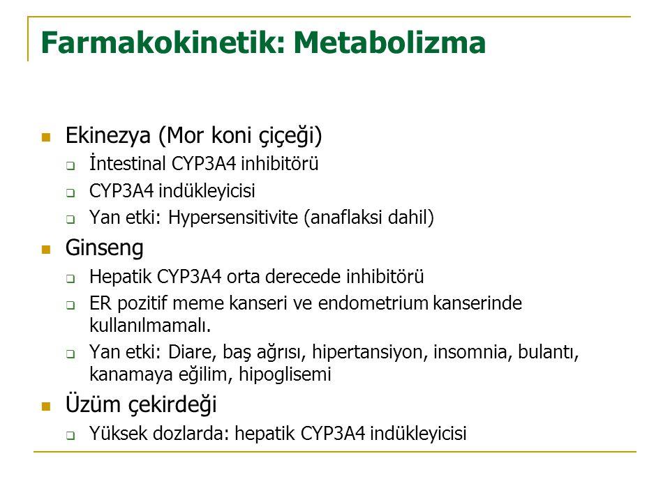 Farmakokinetik: Metabolizma  Ekinezya (Mor koni çiçeği)  İntestinal CYP3A4 inhibitörü  CYP3A4 indükleyicisi  Yan etki: Hypersensitivite (anaflaksi dahil)  Ginseng  Hepatik CYP3A4 orta derecede inhibitörü  ER pozitif meme kanseri ve endometrium kanserinde kullanılmamalı.