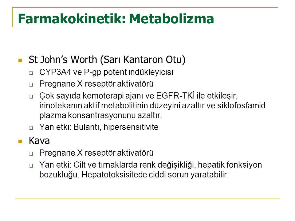 Farmakokinetik: Metabolizma  St John's Worth (Sarı Kantaron Otu)  CYP3A4 ve P-gp potent indükleyicisi  Pregnane X reseptör aktivatörü  Çok sayıda kemoterapi ajanı ve EGFR-TKİ ile etkileşir, irinotekanın aktif metabolitinin düzeyini azaltır ve siklofosfamid plazma konsantrasyonunu azaltır.