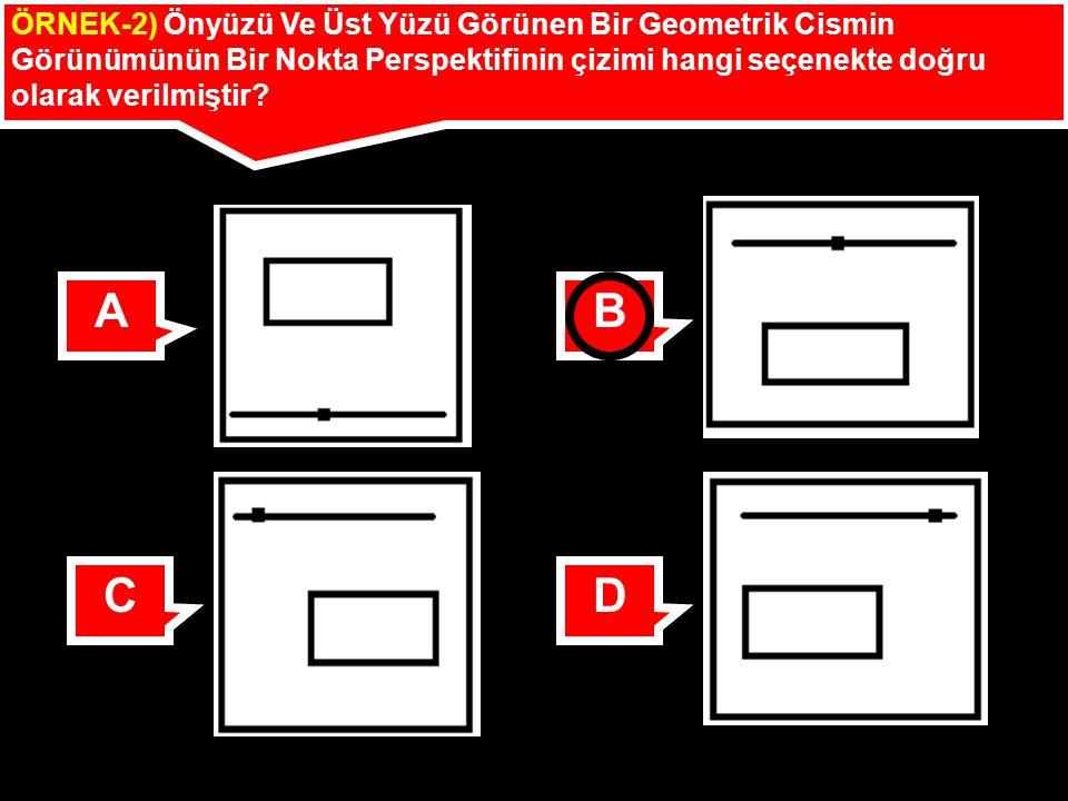 ÖRNEK-2) Önyüzü Ve Üst Yüzü Görünen Bir Geometrik Cismin Görünümünün Bir Nokta Perspektifinin çizimi hangi seçenekte doğru olarak verilmiştir? AB CD