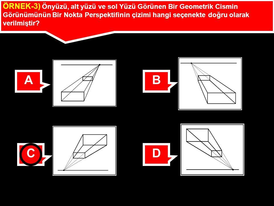 ÖRNEK-3) Önyüzü, alt yüzü ve sol Yüzü Görünen Bir Geometrik Cismin Görünümünün Bir Nokta Perspektifinin çizimi hangi seçenekte doğru olarak verilmişti