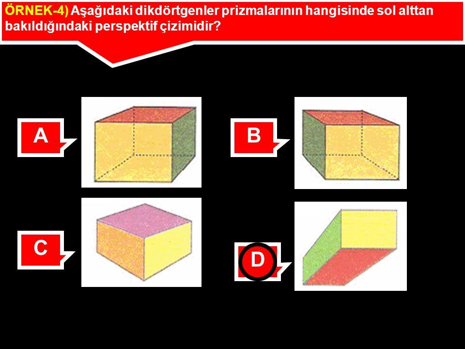 ÖRNEK-4) Aşağıdaki dikdörtgenler prizmalarının hangisinde sol alttan bakıldığındaki perspektif çizimidir? AB C D