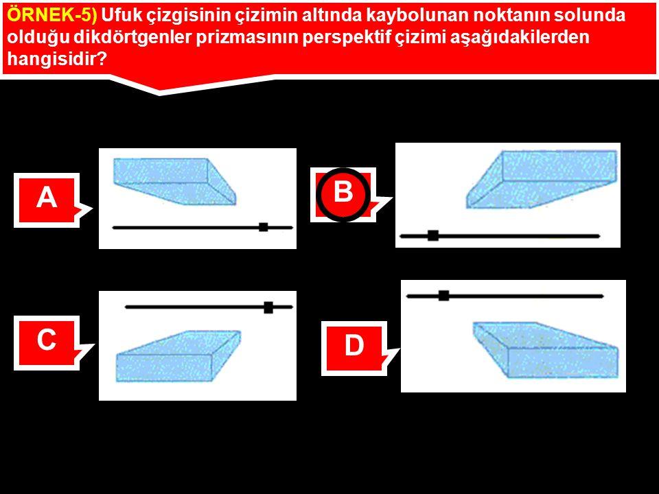 ÖRNEK-5) Ufuk çizgisinin çizimin altında kaybolunan noktanın solunda olduğu dikdörtgenler prizmasının perspektif çizimi aşağıdakilerden hangisidir.