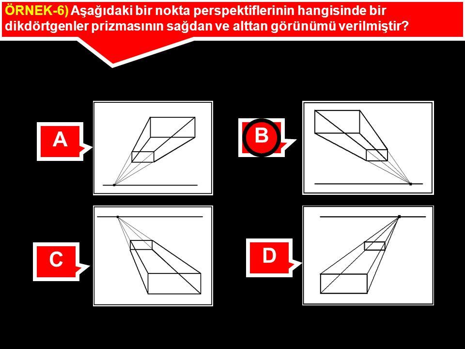 ÖRNEK-6) Aşağıdaki bir nokta perspektiflerinin hangisinde bir dikdörtgenler prizmasının sağdan ve alttan görünümü verilmiştir? A B C D