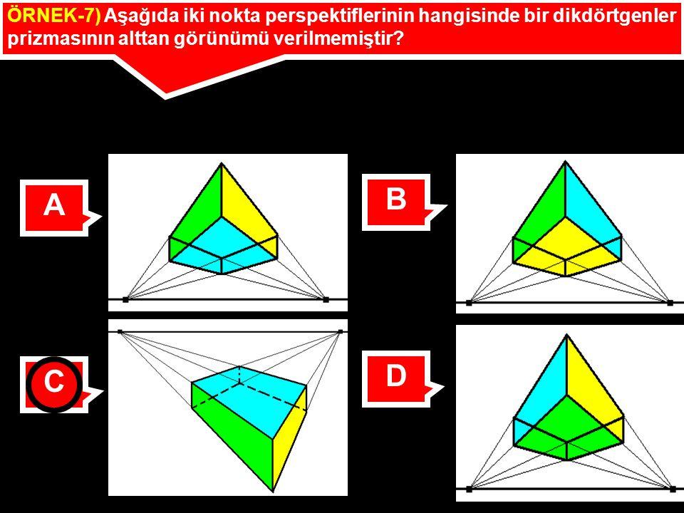 ÖRNEK-7) Aşağıda iki nokta perspektiflerinin hangisinde bir dikdörtgenler prizmasının alttan görünümü verilmemiştir? A B C D