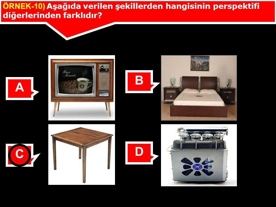 ÖRNEK-10) Aşağıda verilen şekillerden hangisinin perspektifi diğerlerinden farklıdır? A B C D
