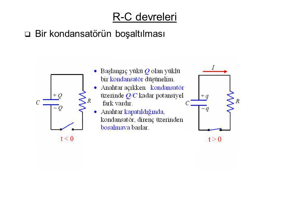 R-C devreleri  Bir kondansatörün boşaltılması