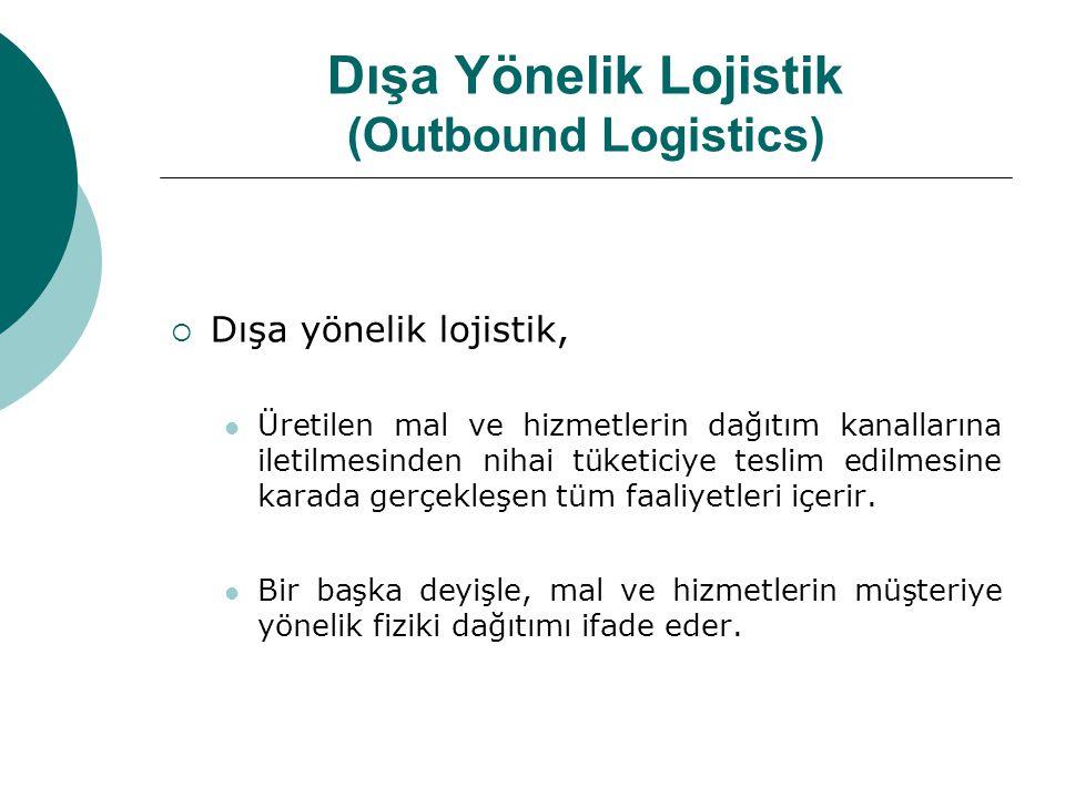 Dışa Yönelik Lojistik (Outbound Logistics)  Dışa yönelik lojistik,  Üretilen mal ve hizmetlerin dağıtım kanallarına iletilmesinden nihai tüketiciye