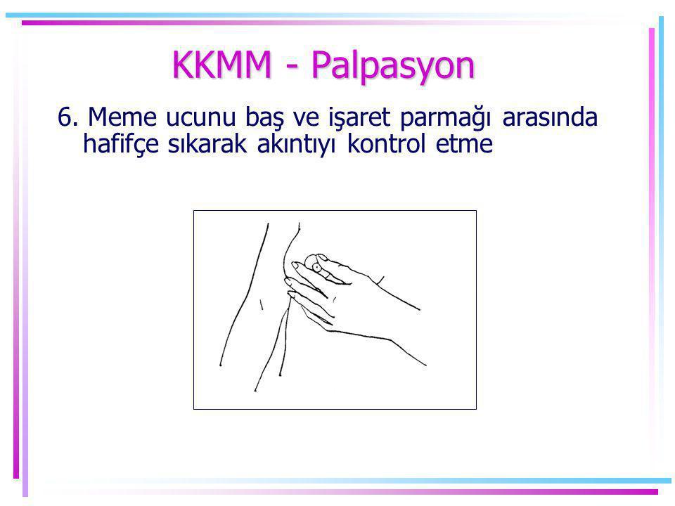 6. Meme ucunu baş ve işaret parmağı arasında hafifçe sıkarak akıntıyı kontrol etme