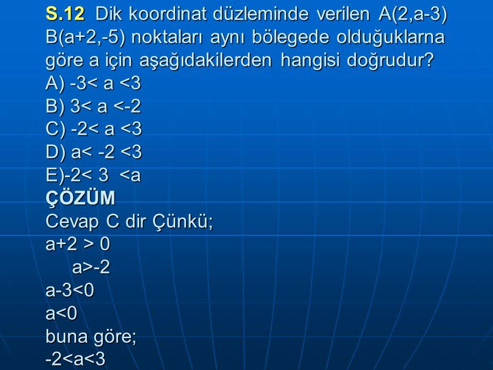 S.12 Dik koordinat düzleminde verilen A(2,a-3) B(a+2,-5) noktaları aynı bölegede olduğuklarna göre a için aşağıdakilerden hangisi doğrudur.