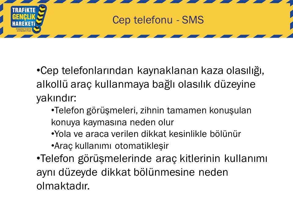 Cep telefonu - SMS • Cep telefonlarından kaynaklanan kaza olasılığı, alkollü araç kullanmaya bağlı olasılık düzeyine yakındır: • Telefon görüşmeleri,