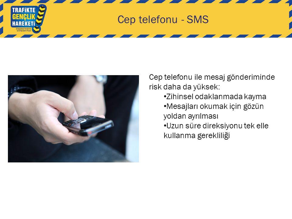 Cep telefonu - SMS Cep telefonu ile mesaj gönderiminde risk daha da yüksek: • Zihinsel odaklanmada kayma • Mesajları okumak için gözün yoldan ayrılmas