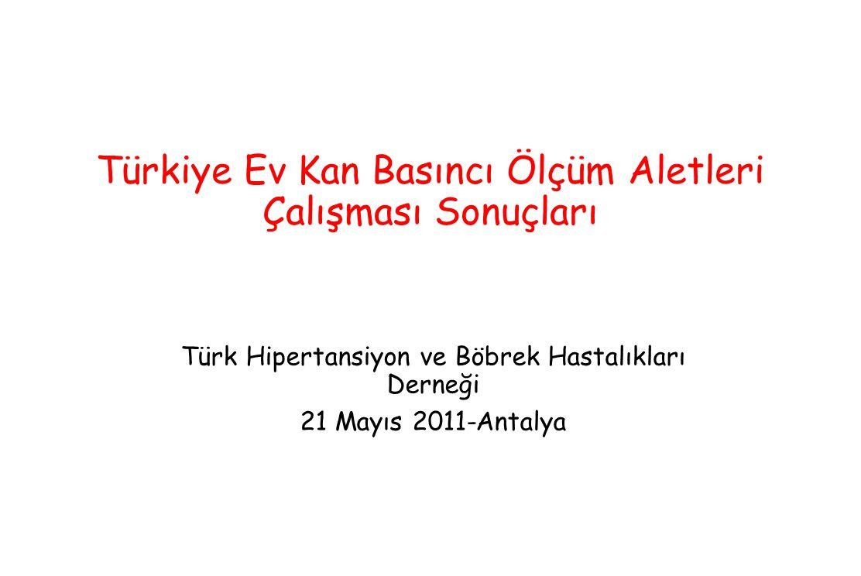 Türkiye Ev Kan Basıncı Ölçüm Aletleri Çalışması Sonuçları Türk Hipertansiyon ve Böbrek Hastalıkları Derneği 21 Mayıs 2011-Antalya