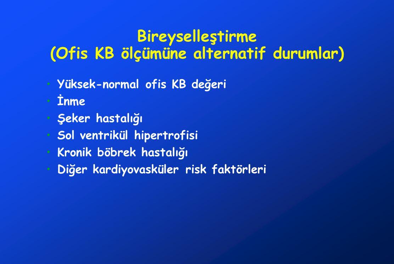 Bireyselleştirme (Ofis KB ölçümüne alternatif durumlar) •Yüksek-normal ofis KB değeri •İnme •Şeker hastalığı •Sol ventrikül hipertrofisi •Kronik böbrek hastalığı •Diğer kardiyovasküler risk faktörleri