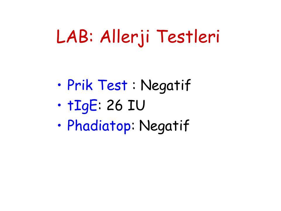 LAB: Allerji Testleri •Prik Test : Negatif •tIgE: 26 IU •Phadiatop: Negatif