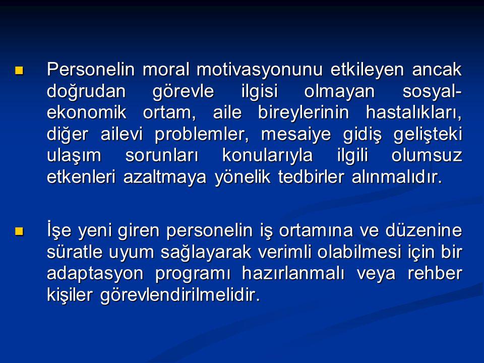  Personelin moral motivasyonunu etkileyen ancak doğrudan görevle ilgisi olmayan sosyal- ekonomik ortam, aile bireylerinin hastalıkları, diğer ailevi