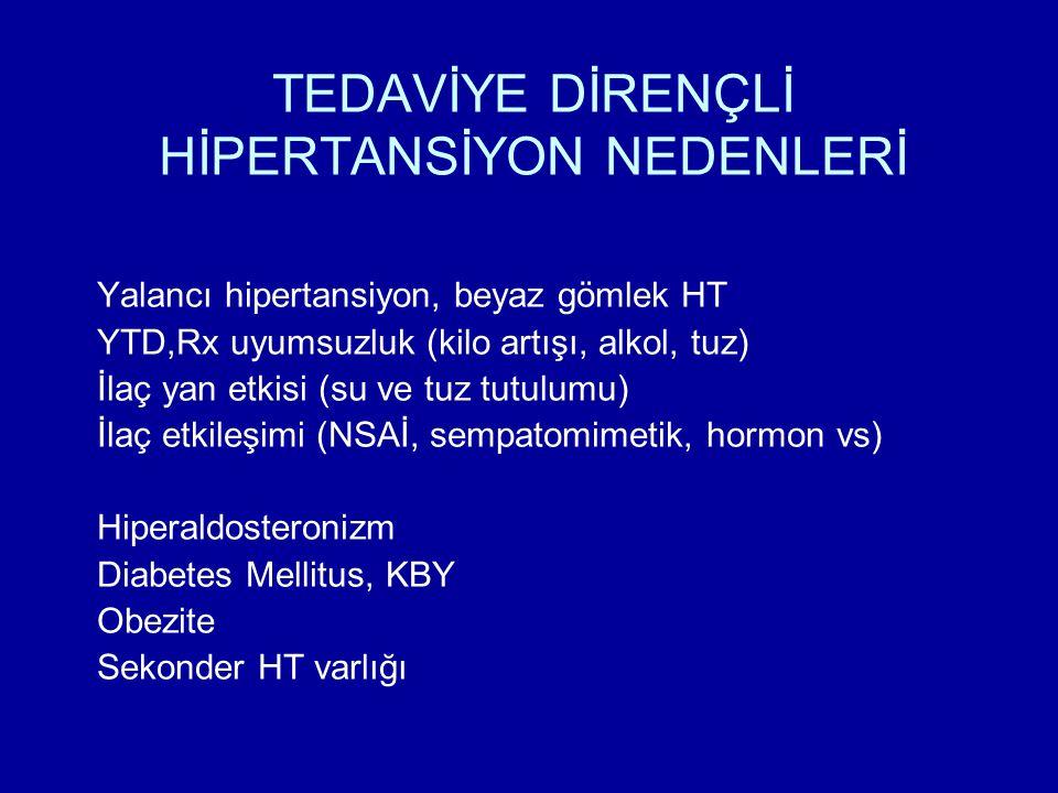 TEDAVİYE DİRENÇLİ HİPERTANSİYON NEDENLERİ Yalancı hipertansiyon, beyaz gömlek HT YTD,Rx uyumsuzluk (kilo artışı, alkol, tuz) İlaç yan etkisi (su ve tuz tutulumu) İlaç etkileşimi (NSAİ, sempatomimetik, hormon vs) Hiperaldosteronizm Diabetes Mellitus, KBY Obezite Sekonder HT varlığı