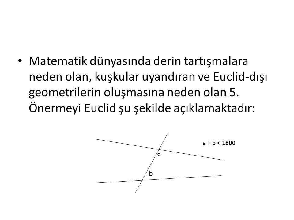 • Matematik dünyasında derin tartışmalara neden olan, kuşkular uyandıran ve Euclid-dışı geometrilerin oluşmasına neden olan 5. Önermeyi Euclid şu şeki