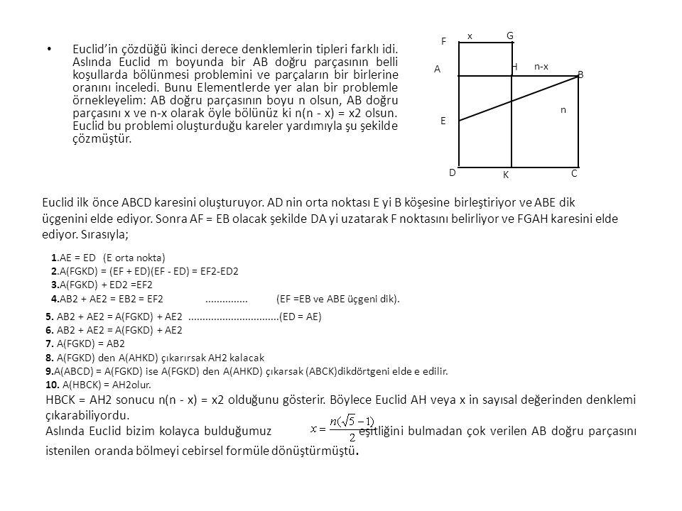 • Euclid'in çözdüğü ikinci derece denklemlerin tipleri farklı idi. Aslında Euclid m boyunda bir AB doğru parçasının belli koşullarda bölünmesi problem