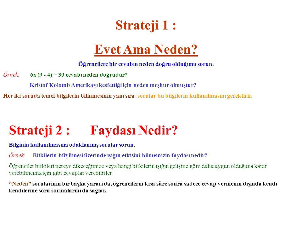 Strateji 1 : Evet Ama Neden.Öğrencilere bir cevabın neden doğru olduğunu sorun.