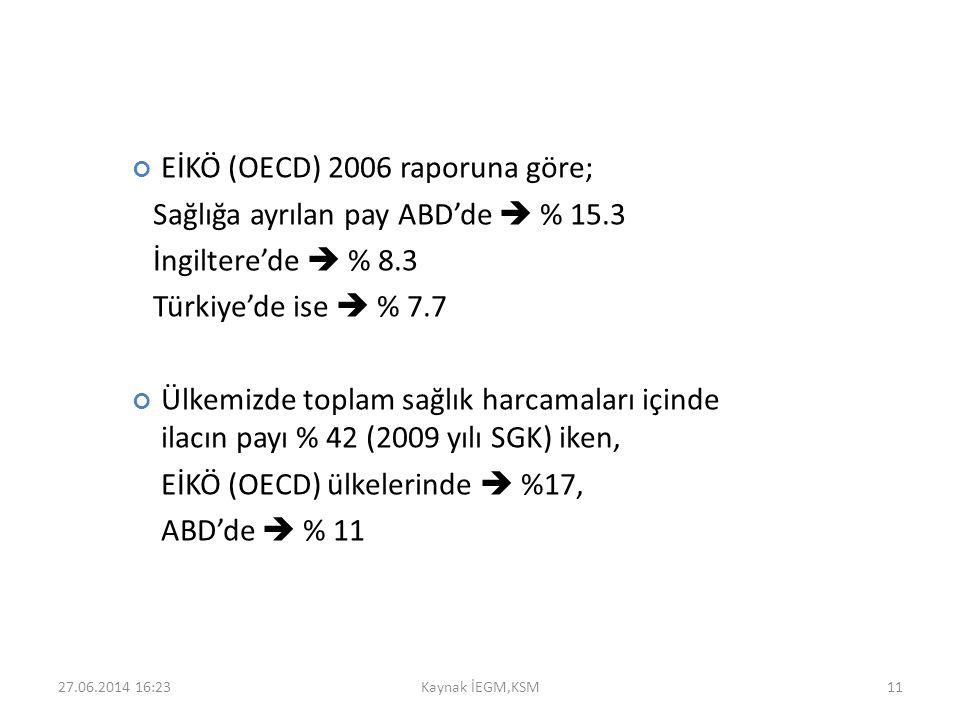 EİKÖ (OECD) 2006 raporuna göre; Sağlığa ayrılan pay ABD'de  % 15.3 İngiltere'de  % 8.3 Türkiye'de ise  % 7.7 Ülkemizde toplam sağlık harcamaları iç