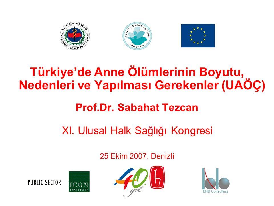 Türkiye'de Anne Ölümlerinin Boyutu, Nedenleri ve Yapılması Gerekenler (UAÖÇ) Prof.Dr. Sabahat Tezcan XI. Ulusal Halk Sağlığı Kongresi 25 Ekim 2007, De