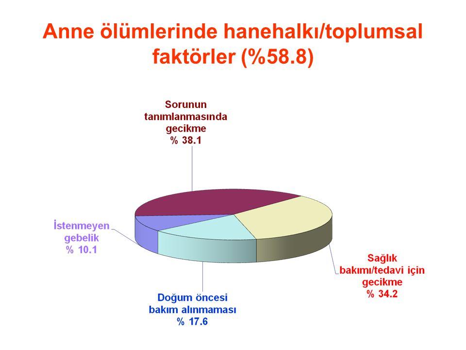 Anne ölümlerinde hanehalkı/toplumsal faktörler (%58.8)