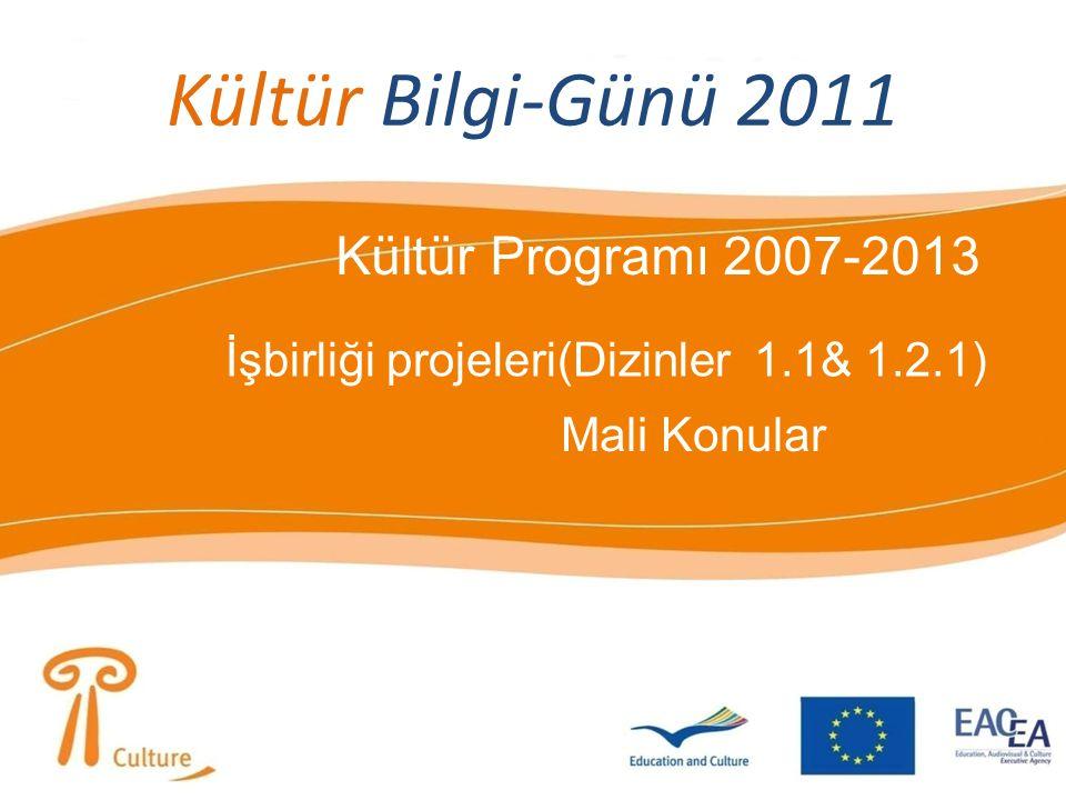 Kültür Bilgi-Günü 2011 Kültür Programı 2007-2013 İşbirliği projeleri(Dizinler 1.1& 1.2.1) Mali Konular