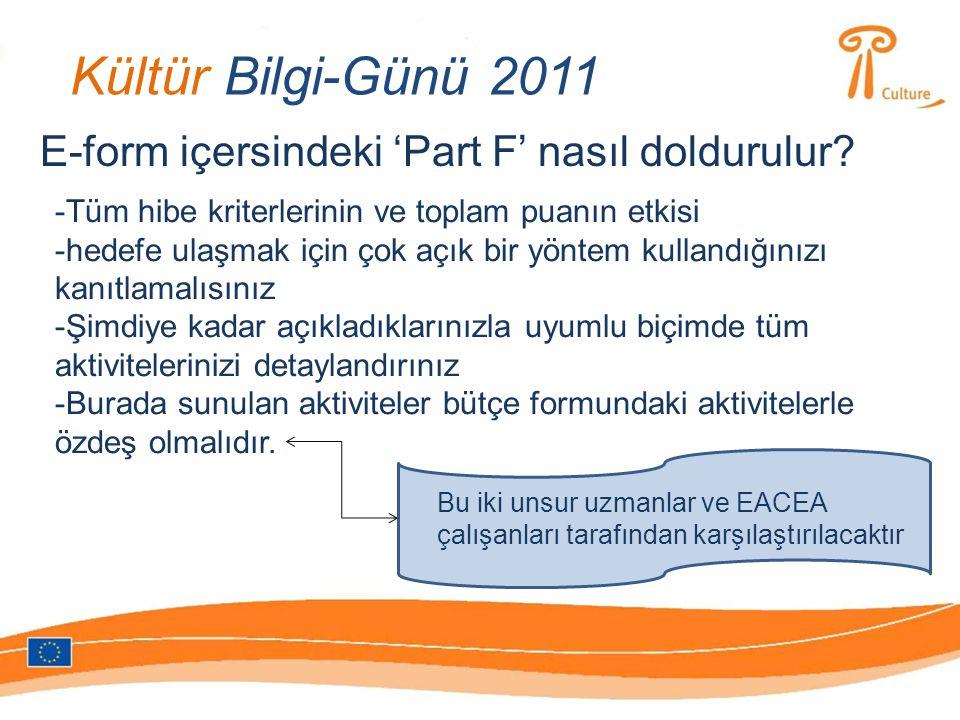 Kültür Bilgi-Günü 2011 E-form içersindeki 'Part F' nasıl doldurulur.