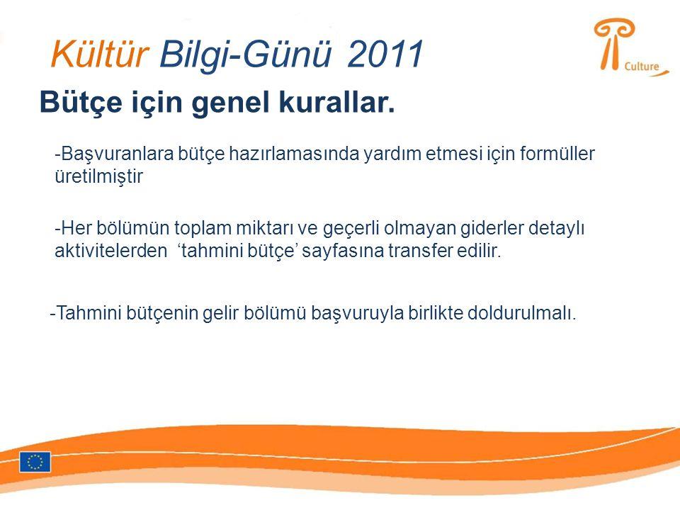 Kültür Bilgi-Günü 2011 Bütçe için genel kurallar.