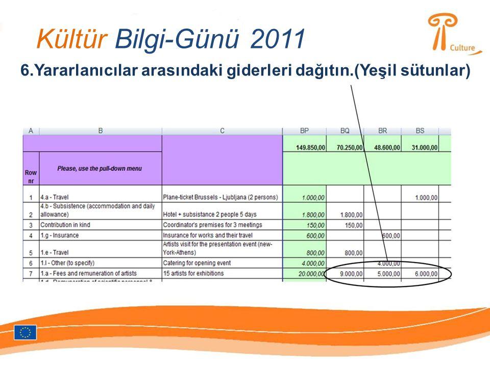 Kültür Bilgi-Günü 2011 6.Yararlanıcılar arasındaki giderleri dağıtın.(Yeşil sütunlar)