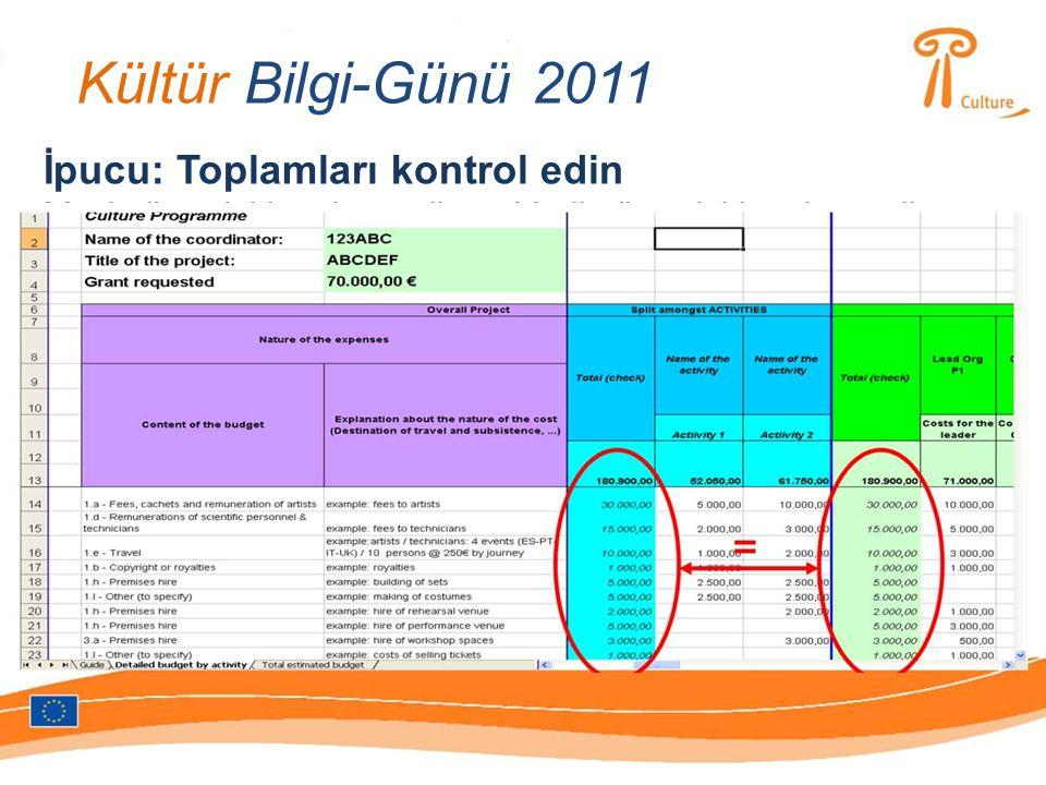 Kültür Bilgi-Günü 2011 İpucu: Toplamları kontrol edin Mavi sütundaki toplam miktar=Yeşil sütundaki toplam miktar