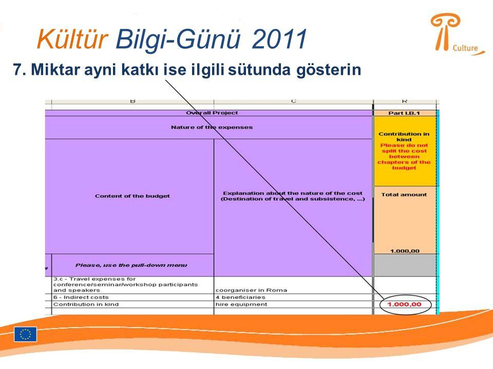Kültür Bilgi-Günü 2011 7. Miktar ayni katkı ise ilgili sütunda gösterin