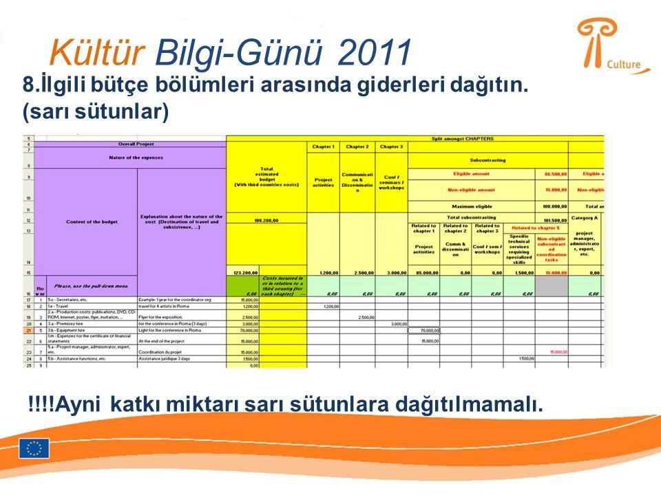 Kültür Bilgi-Günü 2011 8.İlgili bütçe bölümleri arasında giderleri dağıtın.