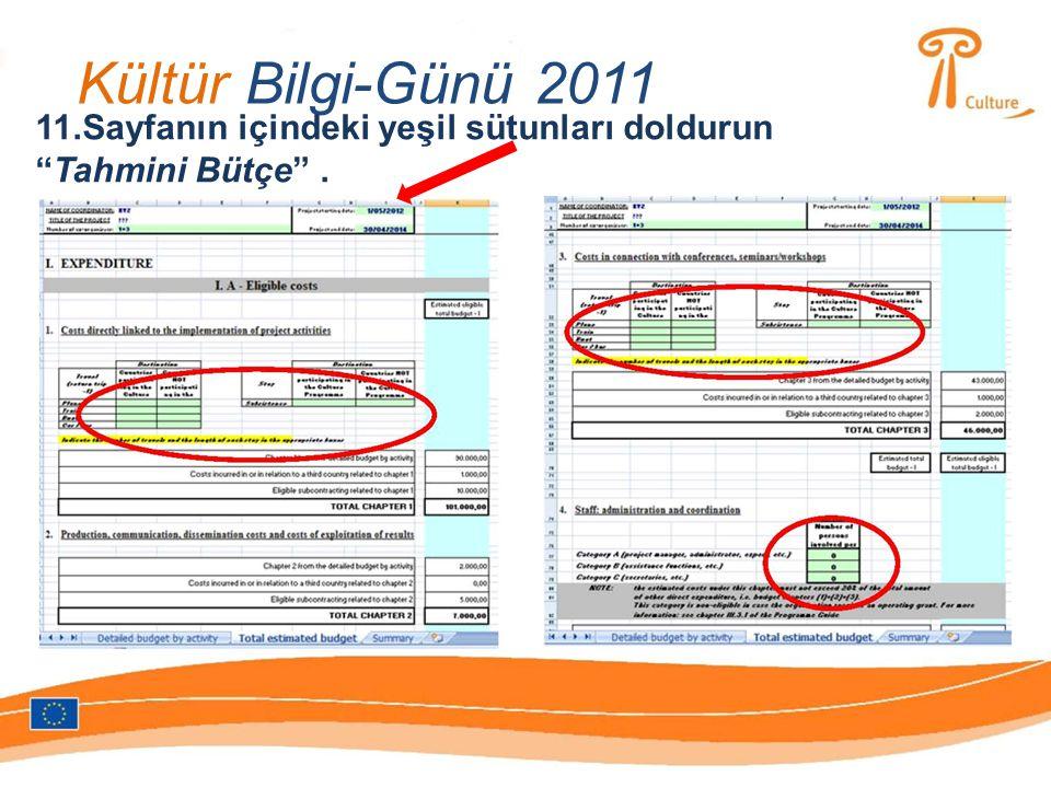 Kültür Bilgi-Günü 2011 11.Sayfanın içindeki yeşil sütunları doldurun Tahmini Bütçe .