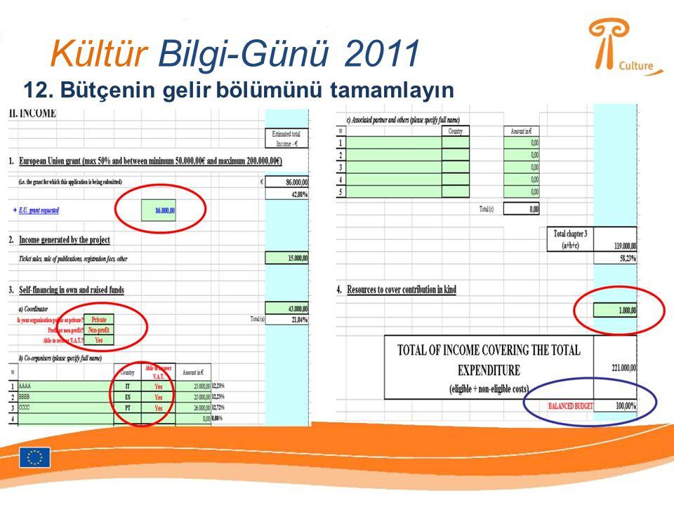 Kültür Bilgi-Günü 2011 12. Bütçenin gelir bölümünü tamamlayın