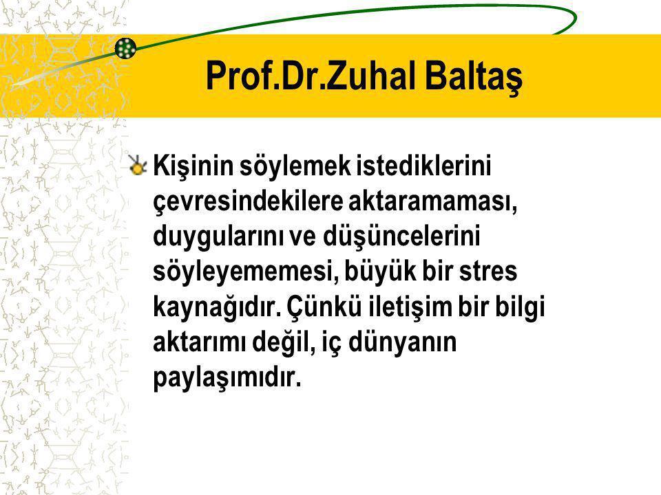 Prof.Dr.Zuhal Baltaş Kişinin söylemek istediklerini çevresindekilere aktaramaması, duygularını ve düşüncelerini söyleyememesi, büyük bir stres kaynağı
