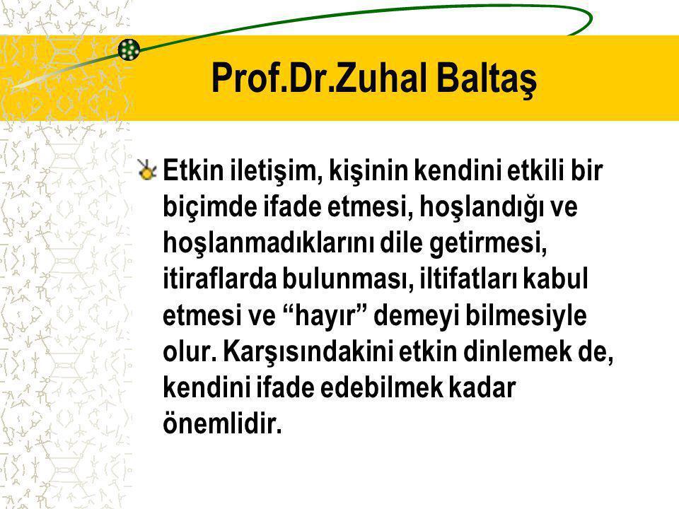 Prof.Dr.Zuhal Baltaş Etkin iletişim, kişinin kendini etkili bir biçimde ifade etmesi, hoşlandığı ve hoşlanmadıklarını dile getirmesi, itiraflarda bulu