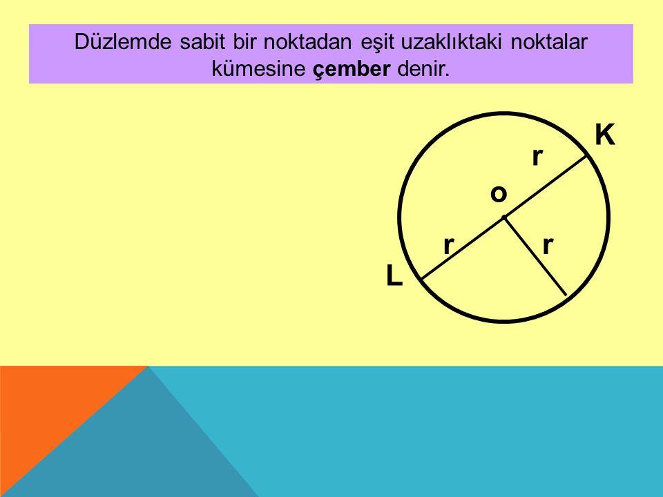 Düzlemde sabit bir noktadan eşit uzaklıktaki noktalar kümesine çember denir. o r rr L K