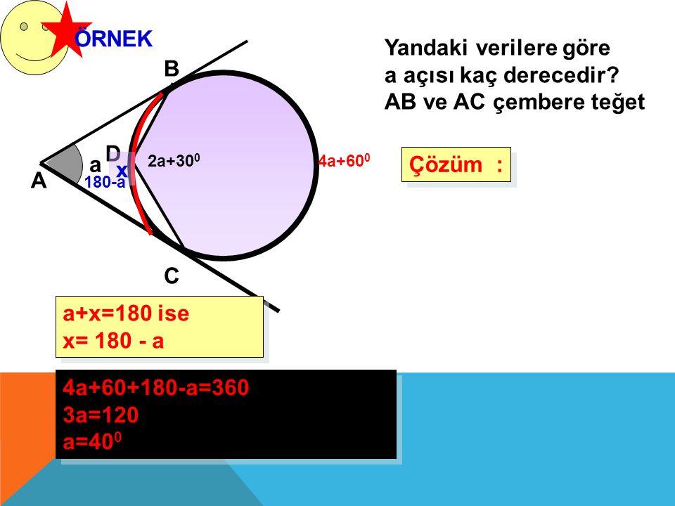 ÖRNEK Yandaki verilere göre a açısı kaç derecedir? AB ve AC çembere teğet Çözüm : Çözüm : a A B 2a+30 0 4a+60+180-a=360 3a=120 a=40 0 4a+60+180-a=360