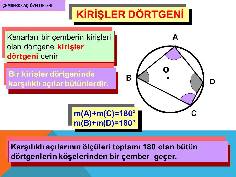 ÇEMBERDE AÇI ÖZELLİKLERİ KİRİŞLER DÖRTGENİ Kenarları bir çemberin kirişleri olan dörtgene kirişler dörtgeni denir o A B C D Bir kirişler dörtgeninde k