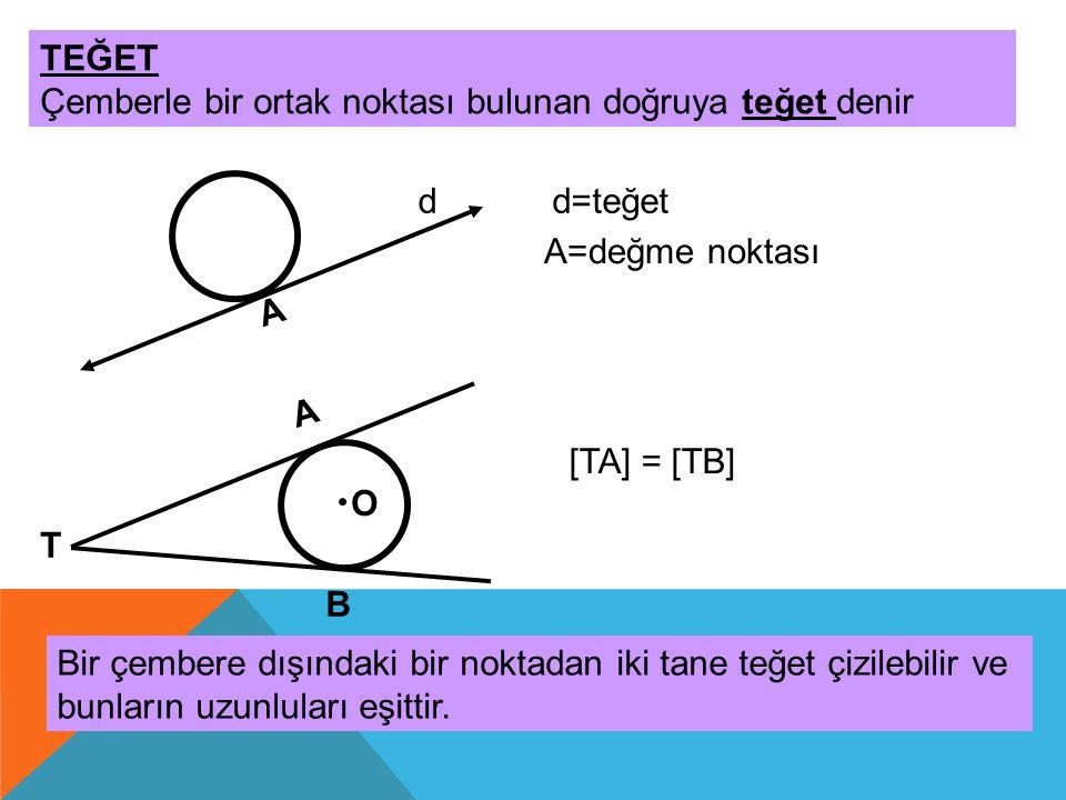 TEĞET Çemberle bir ortak noktası bulunan doğruya teğet denir d A d=teğet A=değme noktası A B O T Bir çembere dışındaki bir noktadan iki tane teğet çiz