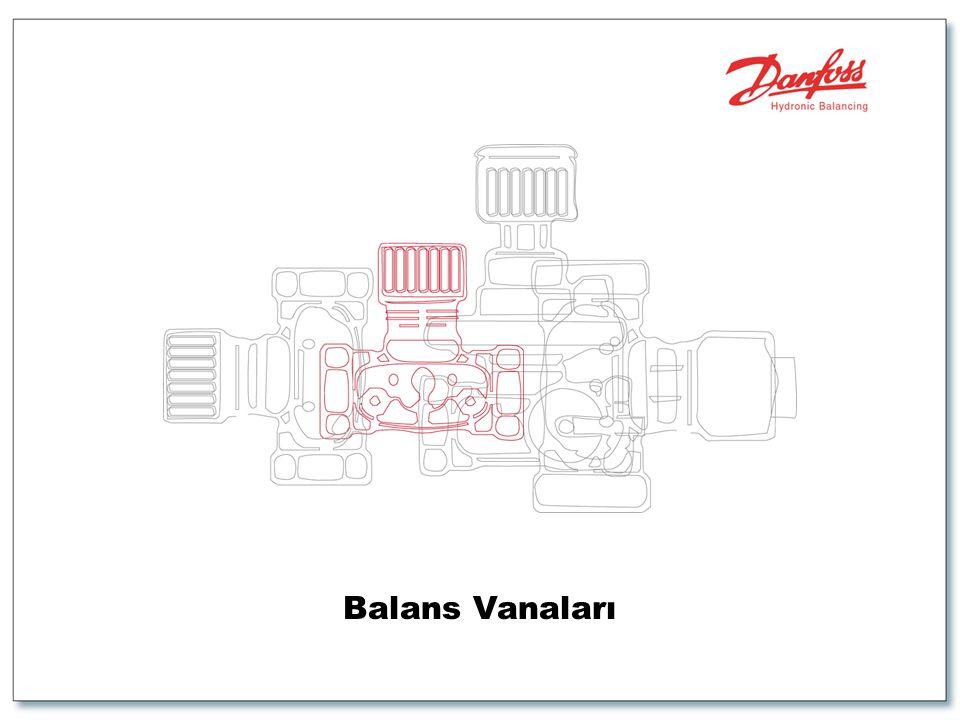 2 Yollu Kontrol Vanaları Kullanıldıgında Balanslama Sistemi •Akış, fan-coil dönüşlerinde statik olarak balanslanmıştır ve partner vanalar dağıtım kolonları üzerinde kullanılmaktadır.