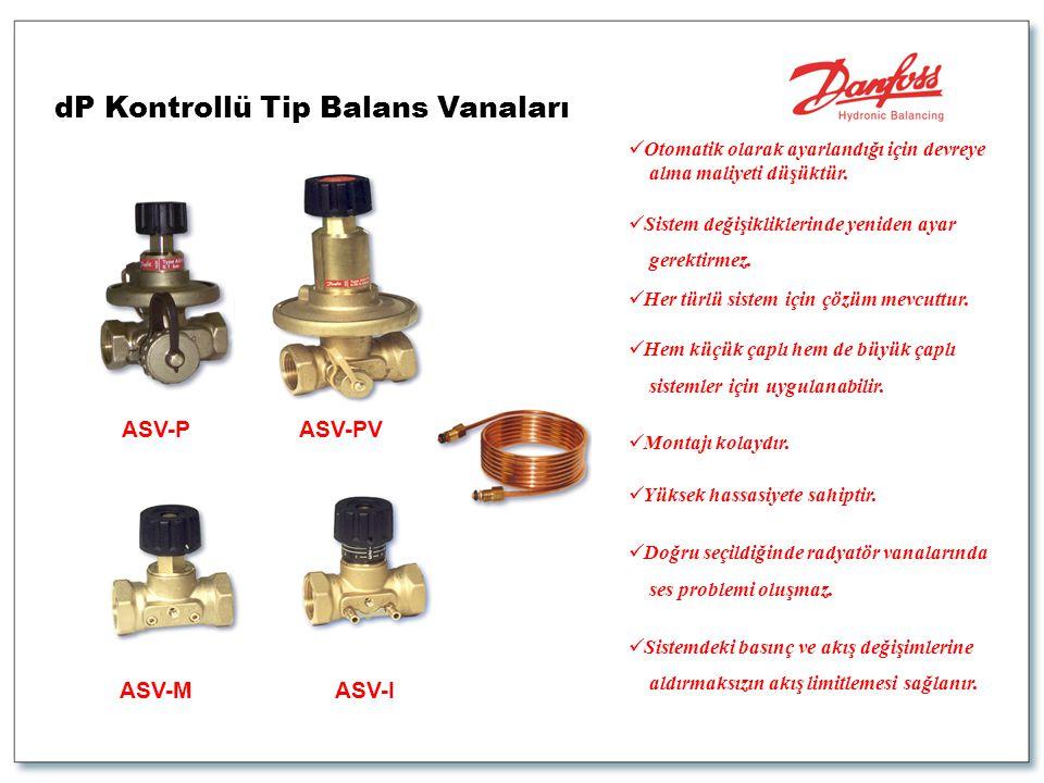 dP Kontrollü Tip Balans Vanaları ASV-PASV-PV ASV-MASV-I  Otomatik olarak ayarlandığı için devreye alma maliyeti düşüktür.  Sistem değişikliklerinde