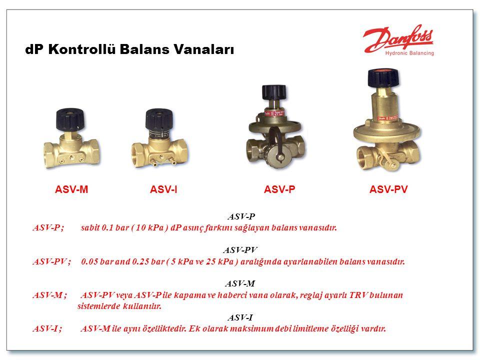 ASV-PASV-PVASV-MASV-I ASV-P ASV-P ;sabit 0.1 bar ( 10 kPa ) dP asınç farkını sağlayan balans vanasıdır. ASV-PV ASV-PV ;0.05 bar and 0.25 bar ( 5 kPa v